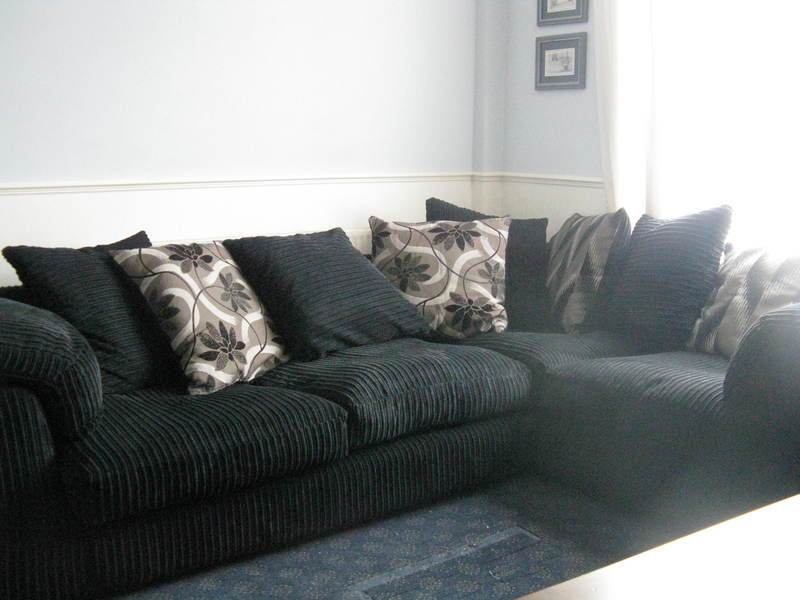 Nearly New Corner Sofa Black Corduroy Soft For Sale In